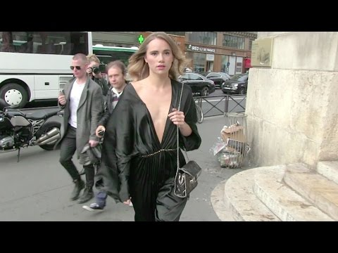Suki Waterhouse and her extremely low cut oufit at Stella McCartney Fashion Show in Paris