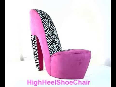 Zebra & Hot Pink High Heel Shoe Chair
