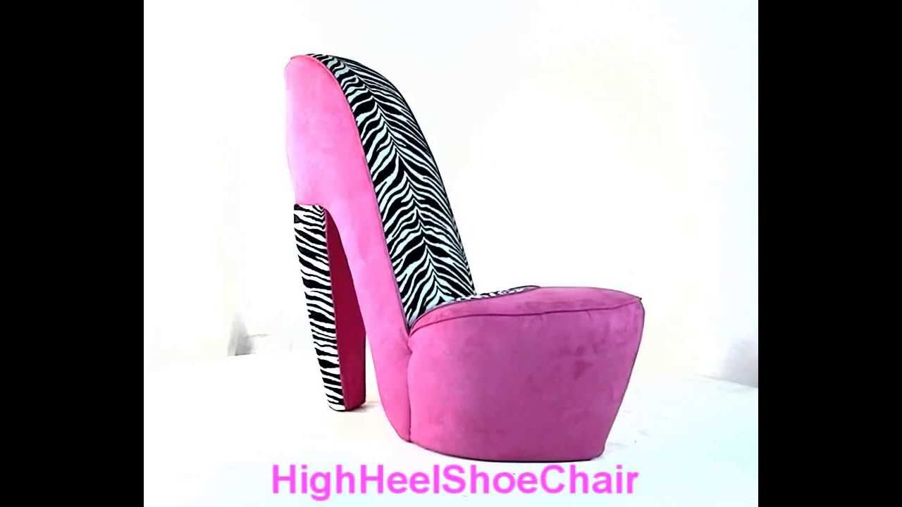 Beau Zebra U0026 Hot Pink High Heel Shoe Chair