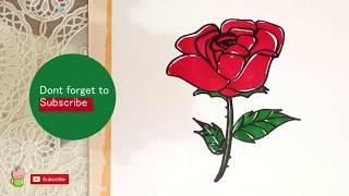 Cara menggambar Bunga Mawar Lucu MUDAH