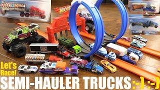 Semi Hauler Trucks Racing! Diecast Trucks Racing Playtime. Hot Wheels Race Track with Loops