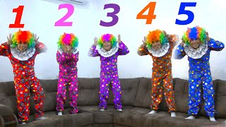 Five little Clown Jumping On The Sofa | Five little monkeys jumping on the bad  good song for kids