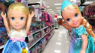 TOY HUNT with ELSA & CINDERELLA toddlers ! Lots of toys and dolls ! Playing