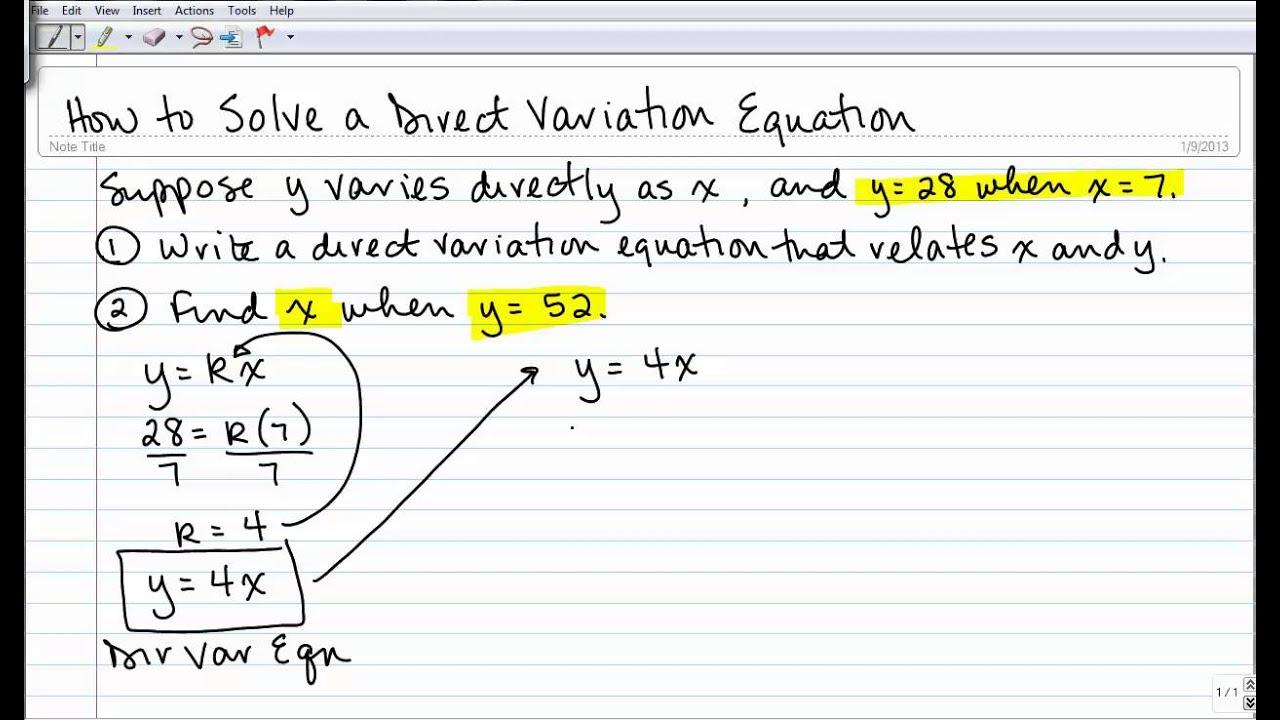 direct variation problem solving