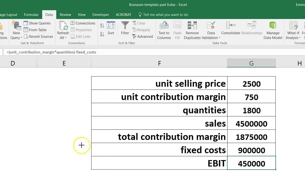 how to calculate bep in excel