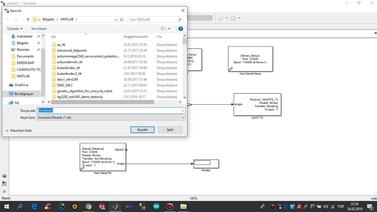 Matlab Simulink STM32F4 Uart Haberleşmesi