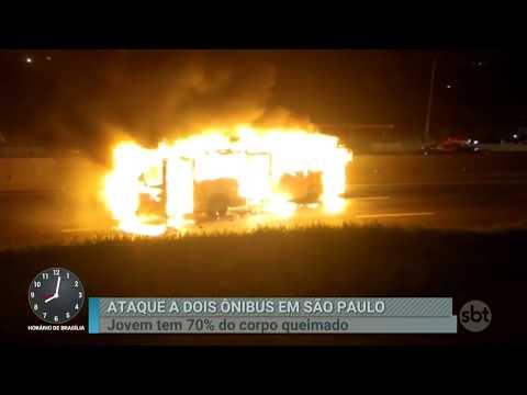 Ataque a ônibus deixa jovem com 70% do corpo queimado em SP | Primeiro Impacto (28/02/18)