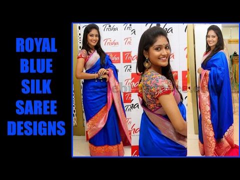 Royal Blue Silk Saree Designs