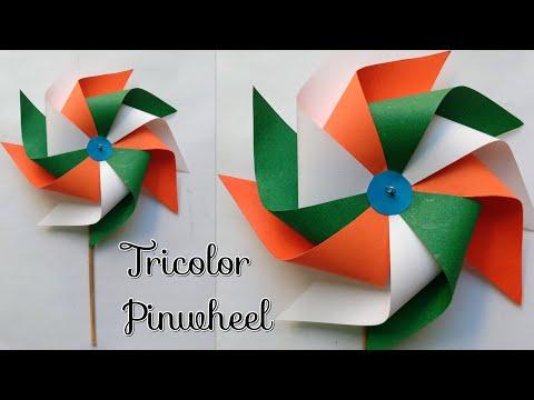 Tricolor Pinwheel/How to make Pinwheel/Windmill/How to make TriColor Pinwheel/15th August Craft Idea