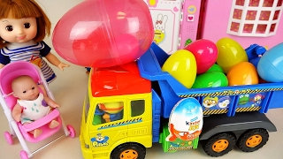 Surprise eggs truck and Baby Doll, Tomica and Kinder Joy car toys