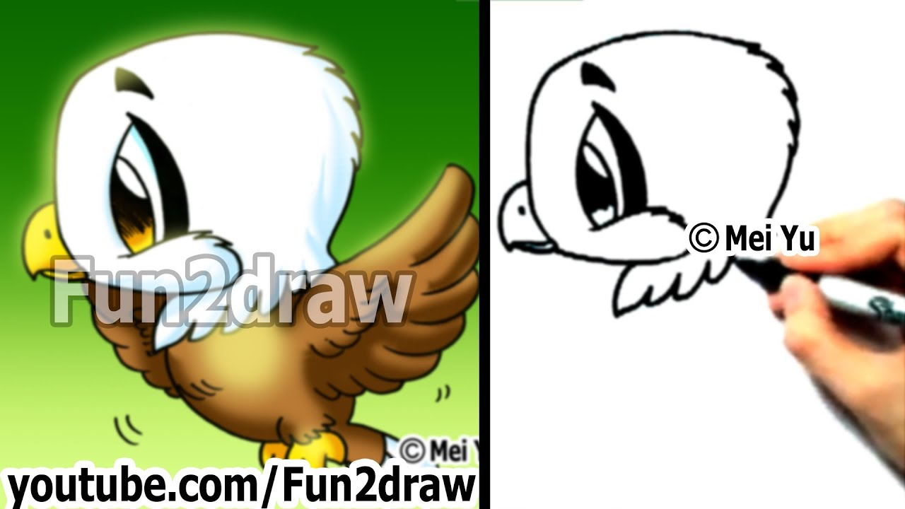 How to draw a cute chibi eagle in 2 min easy things to draw fun2draw