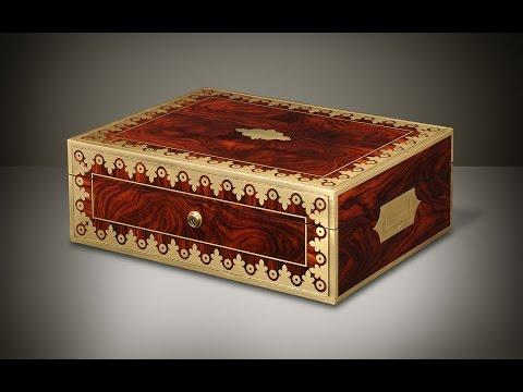 Daniellucian.com - Kingwood Antique Jewellery Box with Foliate Brass Inlay