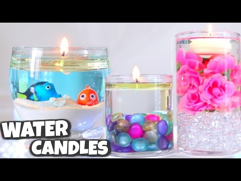 DIY WATER CANDLE // Vase Centerpiece Candles How To - SoCraftastic