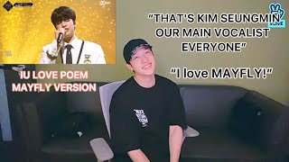 BANGCHAN REACTION TO IU LOVE POEM MAYFLY VERSION STRAY KIDS ATEEZ BTOB VOCAL UNIT KINGDOM EP. 8