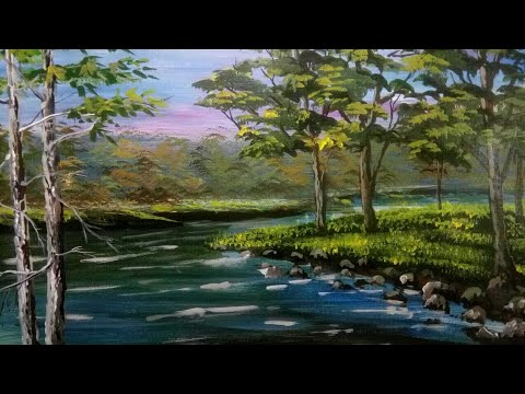Oil painting techniques | Basics painting | for beginners | landscape tree's with water reference