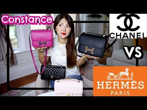 HERMES CONSTANCE MINI VS 24 | CHANEL CLASSIC FLAPS | COMPARISON, WHAT FITS, PRICE ETC | CHARIS