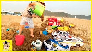 Kid outdoor family fun play! Transformer car helicopter police toys on beach | MariAndKids Toys