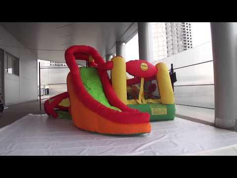 Батут Happy Hop. Надувной игровой центр 11 в 1. Наполнение воздухом.