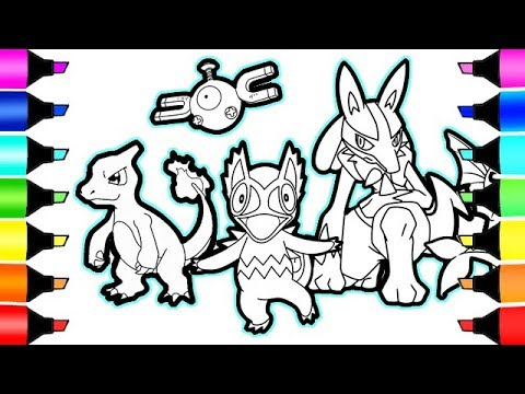 pokemon coloring pages charmeleon magnamite and friends i fun colouring videos for kids