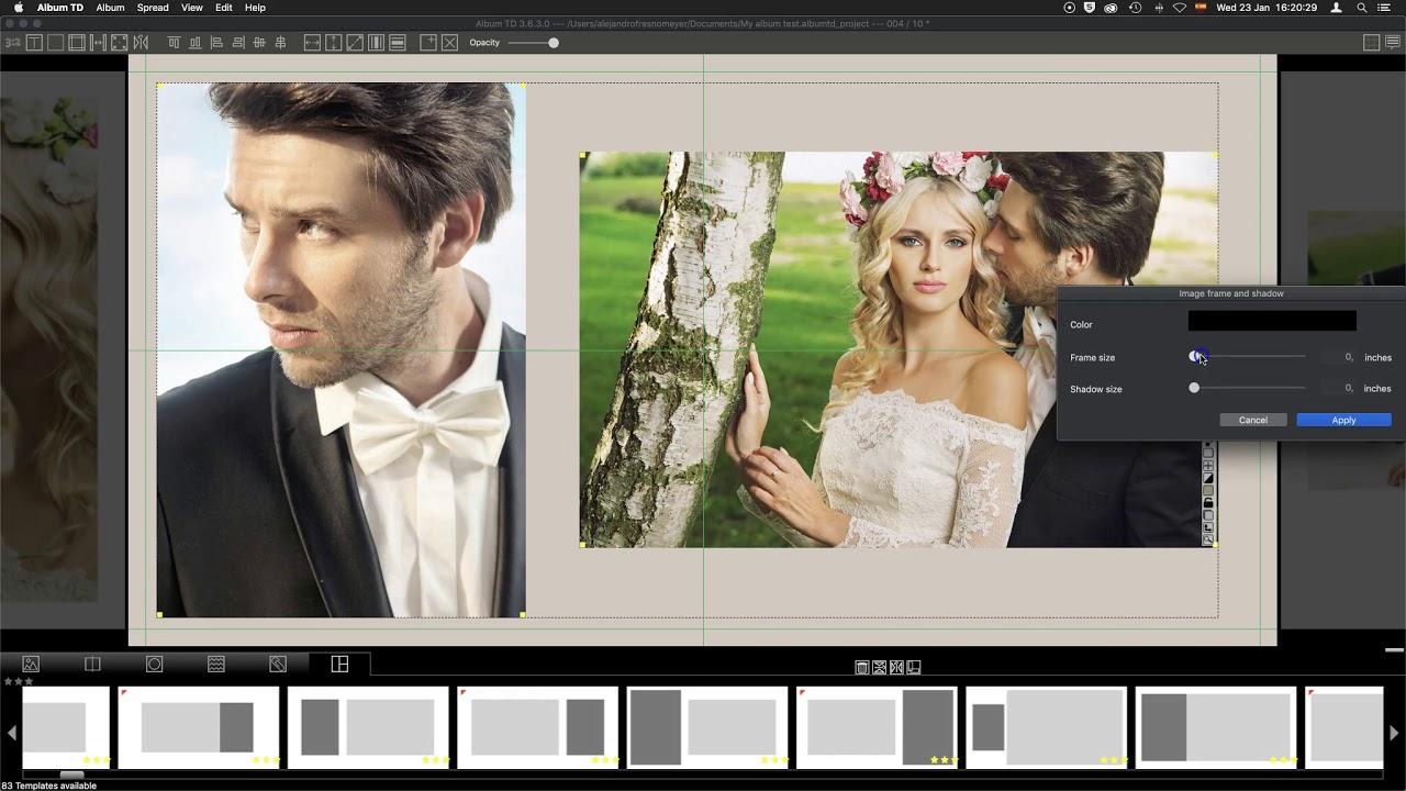 Professional wedding photo album software