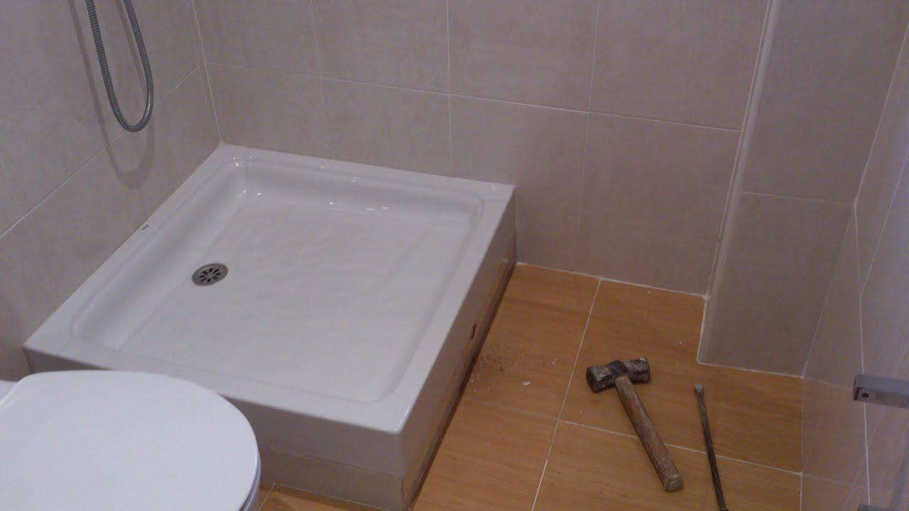 sustitucin plato de ducha de porcelana por plato de ducha de obra acabado gresite vidrio parte youtube