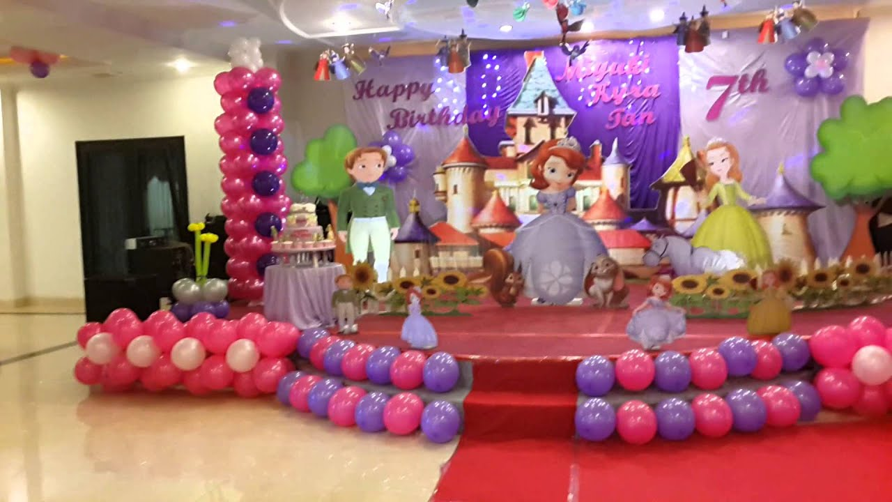 Sofia the first birthday theme youtube for 1st birthday hall decoration ideas