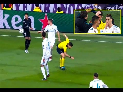 NEYMAR knockout the referee / REAL MADRID VS PARIS SAINT GERMAIN