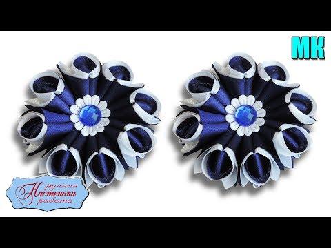 Простые бантики резинки из атласных лент 5 см. МК Канзаши. Kanzashi Ribbon Roses Hair Bows.