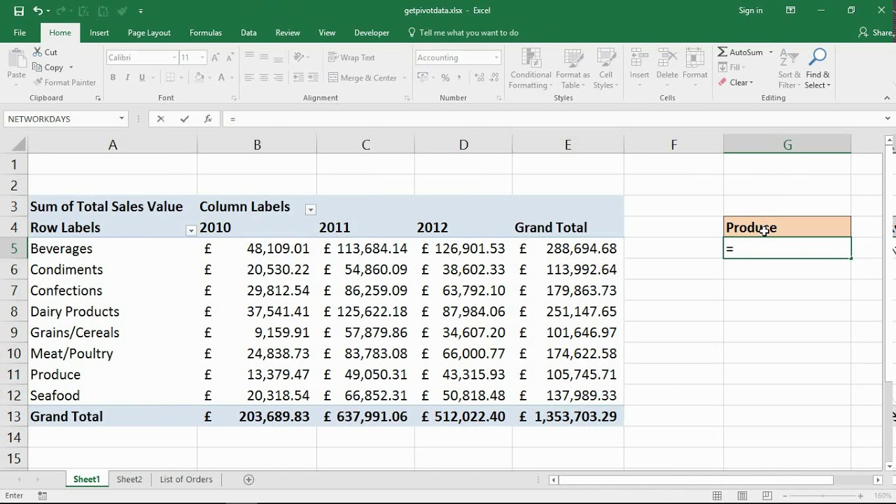 excel getpivotdata function to pull data from a pivottable
