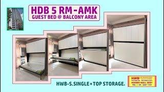 Wall Bed HDB 5 Room. HWB® S.Single Horizontal +Top Storage Cabinets.HWB HUB.BTO.EC.DBSS