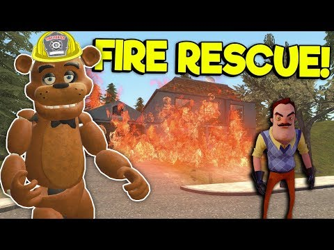 SAVING THE NEIGHBOR FROM A HOUSE FIRE! - Garry's Mod Gameplay - Hello Neighbor Rescue Mission thumbnail
