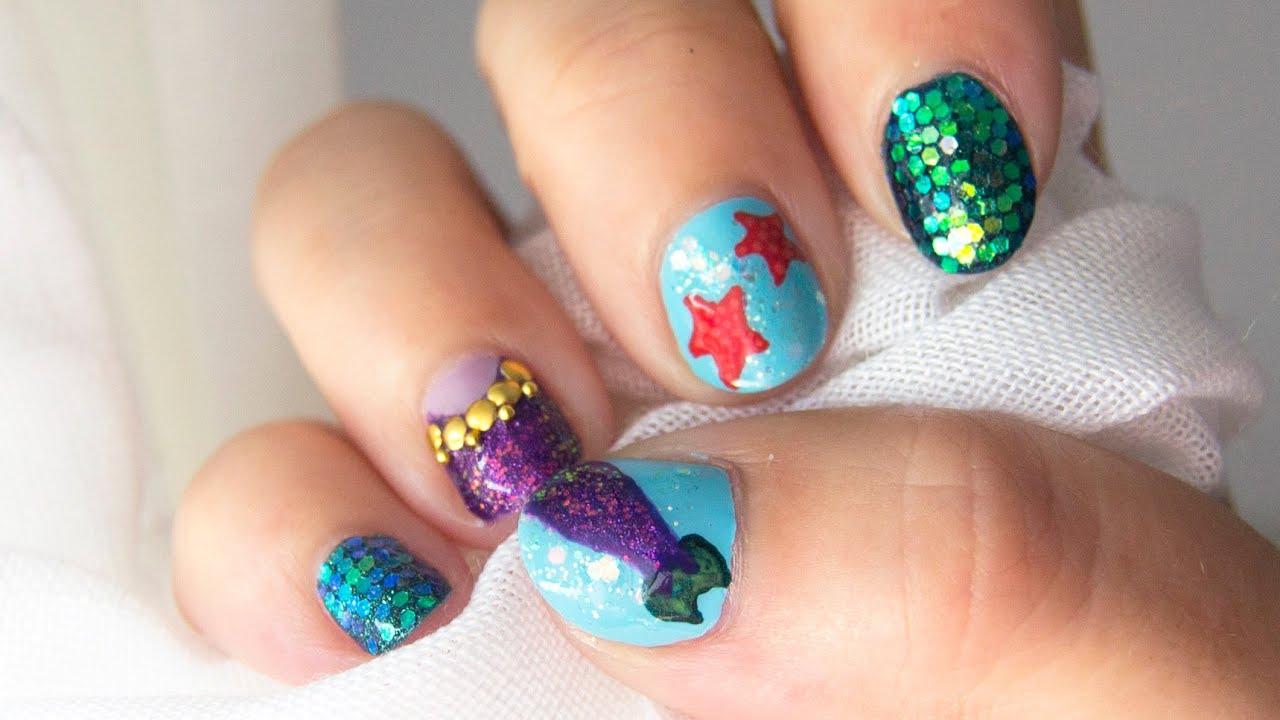 Diseño de uñas de sirena y estrellas de mar / Mermaid and starfish ...