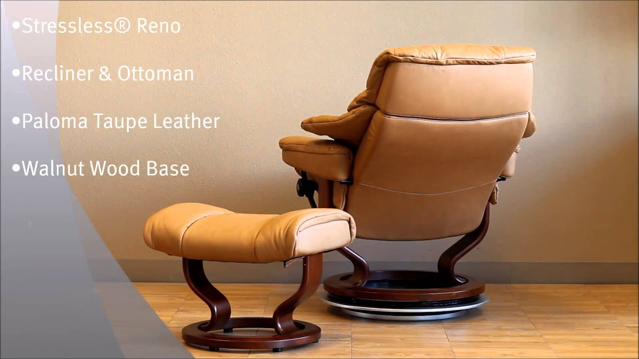 Stressless Reno Recliner And Ottoman In Paloma Taupe