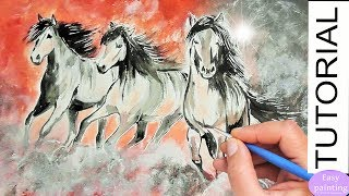 Running HORSES Painting Tutorial. How to paint HORSE Step by Step Tutorial for beginners