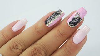 Princess nails art Tutorial / Bluesky #pinknailsart #princessnails