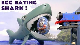 Thomas & Friends Shark Eating Surprise Eggs | Cars Spiderman Minions and Transformers Kids Toys