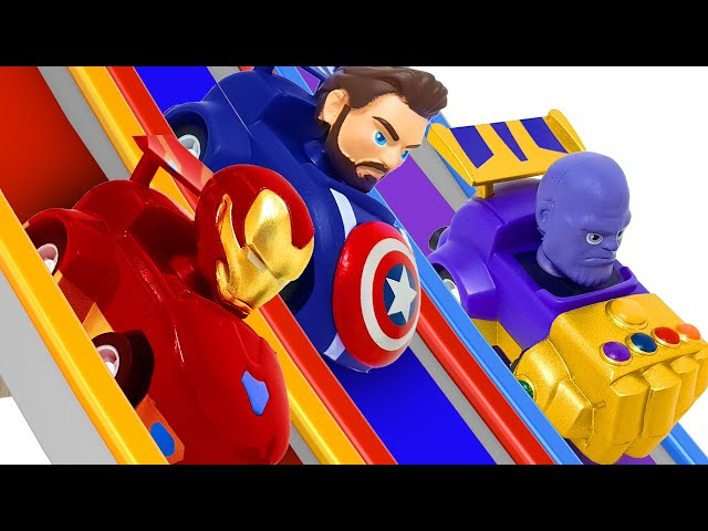 Avengers Racing! Spider-Man and Thanos' Race Car! ❤️ RACHAMAN TOY