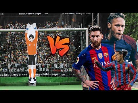Messi, Neymar Jr,  and Ronaldinho vs Robot Goalkeeper