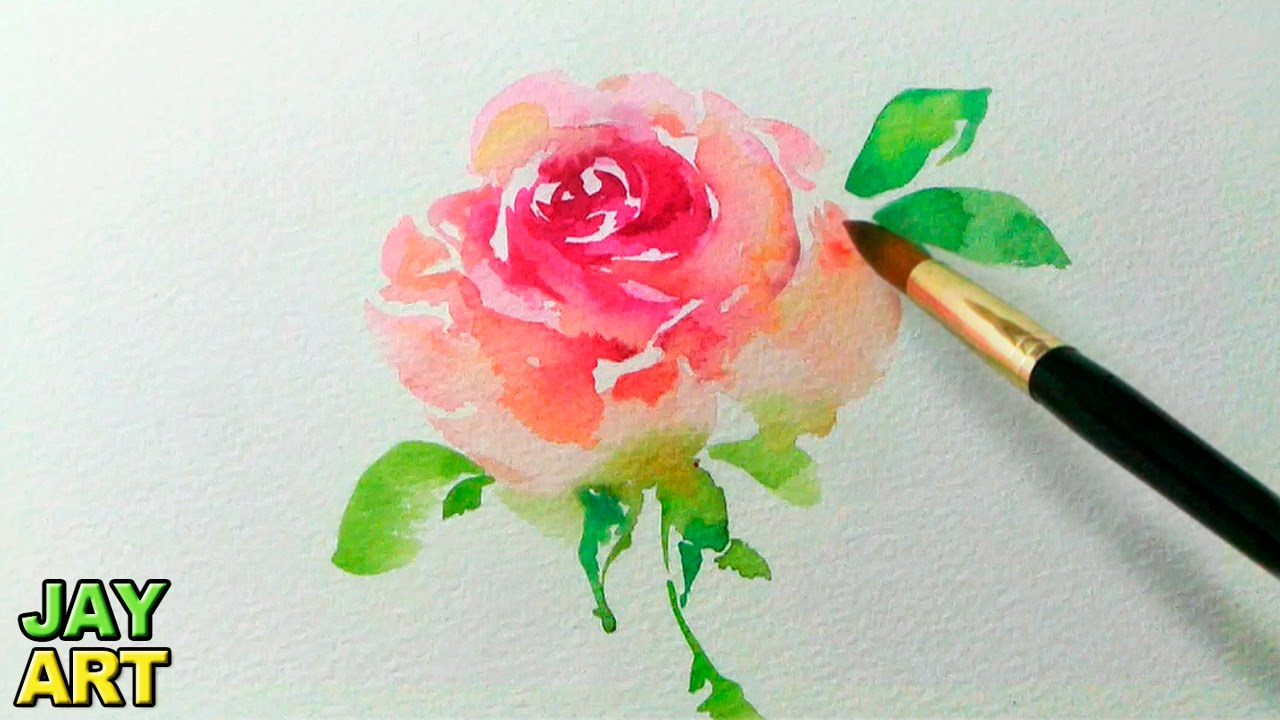 How to paint a pink rose in watercolor jay art youtube for How to paint a rose in watercolor step by step