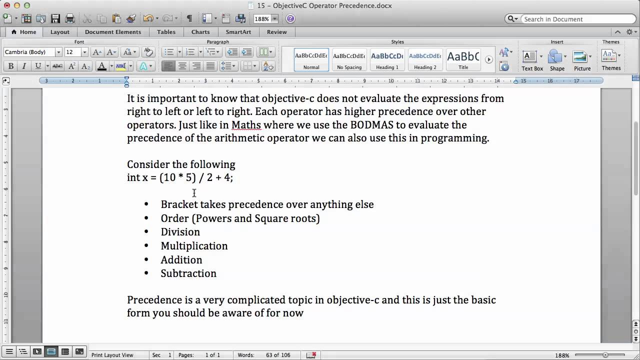 Objective c tutorials 15 operator precedence youtube objective c tutorials 15 operator precedence baditri Image collections