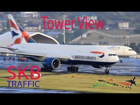 Awesome Tower View !!! BA 777, UA 737, AA 757, AA 737, AC A320, DA 757..@ St. Kitts Airport