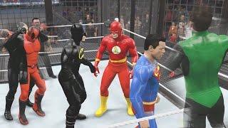Repeat youtube video WWE 2K15 - DEATHSTROKE VS DEADPOOL VS BATMAN VS SUPERMAN VS GREEN LANTERN VS FLASH