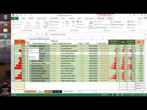2014 NFL Week 7 Excel Picks Algorithm