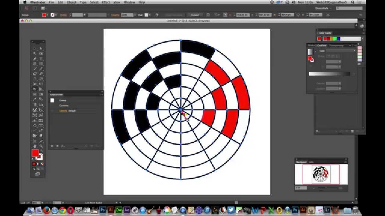 Illustrator CC -- Polar grid tool and live paint tutorial