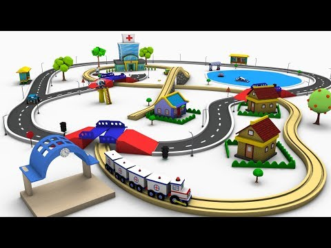 Ambulance Cartoon - Toy Train - Toy Factory Train - Choo Choo train -  Train Cartoon -  Cartoon