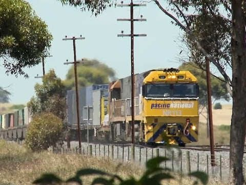 Freight Train in Country Victoria - Melbourne to Perth TOLL service (MP4)
