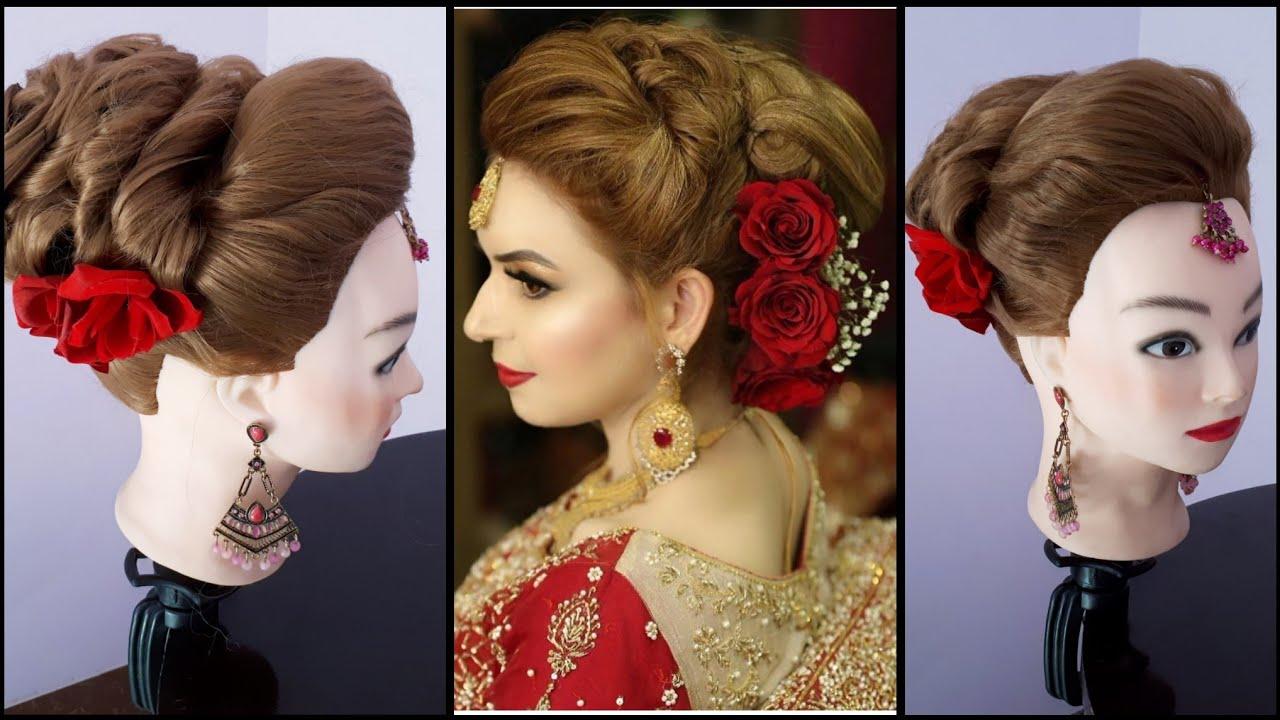 traditional bridal bun hair tutorial || asian bridal hairdo || bridal hairstyle || wedding hairdo ||