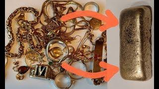 Melting GOLD Jewelry into a Huge GOLD BAR ! Deritiendo Joyas de ORO haciendo una Barra de ORO ENORME
