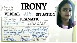 Irony - a figure of speech | explained in hindi ||Verbal irony , situation irony and dramatic irony