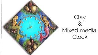 Clay mural & Mixed media clock | Mermaid theme clock